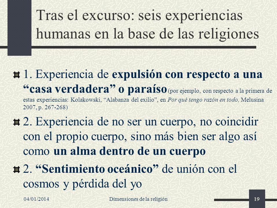 Tras el excurso: seis experiencias humanas en la base de las religiones 1. Experiencia de expulsión con respecto a una casa verdadera o paraíso (por e
