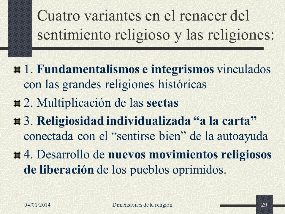 Cuatro variantes en el renacer del sentimiento religioso y las religiones: 1. Fundamentalismos e integrismos vinculados con las grandes religiones his