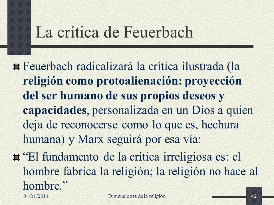 La crítica de Feuerbach Feuerbach radicalizará la crítica ilustrada (la religión como protoalienación: proyección del ser humano de sus propios deseos
