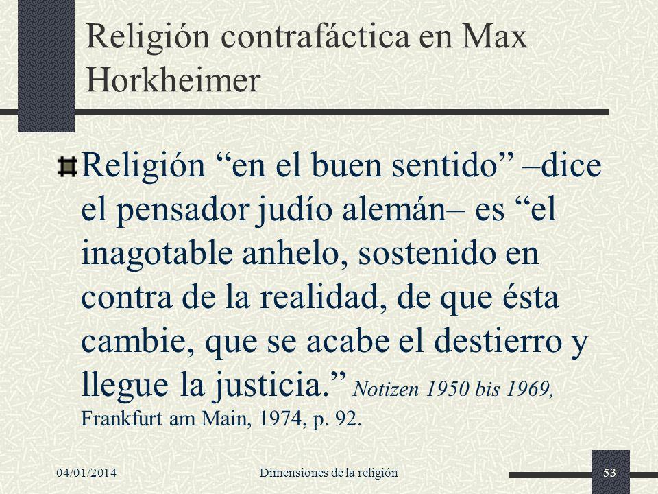 Religión contrafáctica en Max Horkheimer Religión en el buen sentido –dice el pensador judío alemán– es el inagotable anhelo, sostenido en contra de l