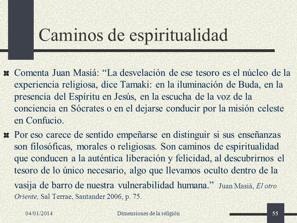 Caminos de espiritualidad Comenta Juan Masiá: La desvelación de ese tesoro es el núcleo de la experiencia religiosa, dice Tamaki: en la iluminación de