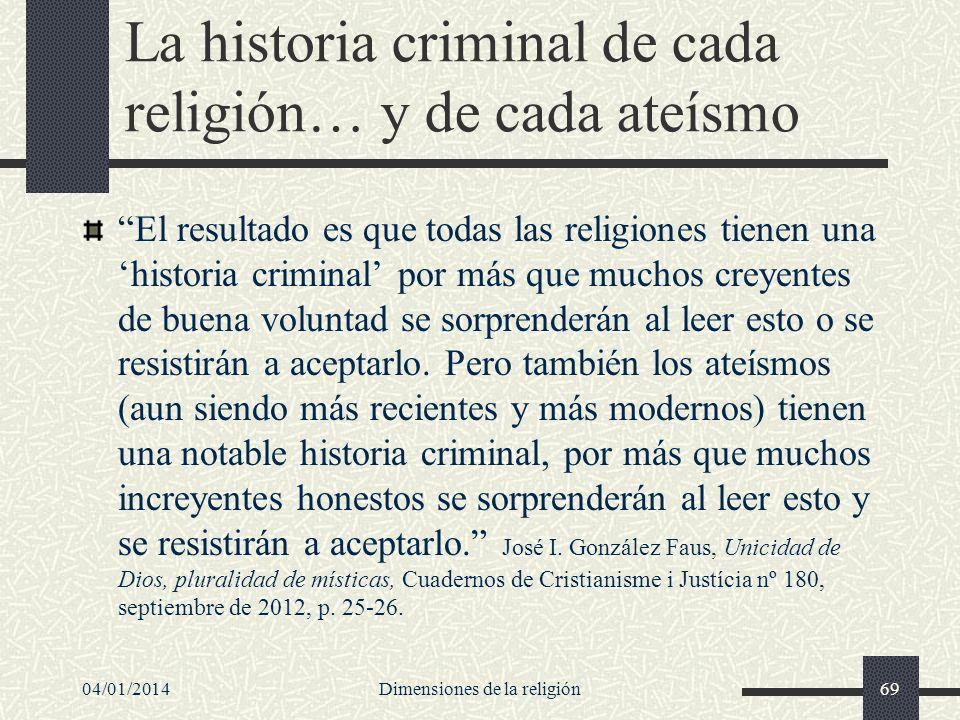 La historia criminal de cada religión… y de cada ateísmo El resultado es que todas las religiones tienen una historia criminal por más que muchos crey