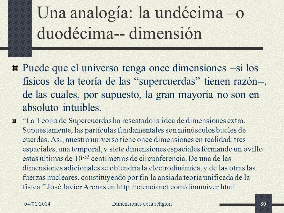 Una analogía: la undécima –o duodécima-- dimensión Puede que el universo tenga once dimensiones –si los físicos de la teoría de las supercuerdas tiene