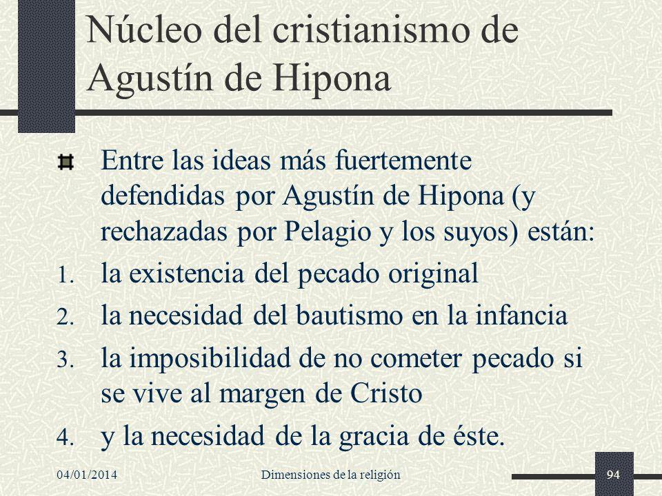 Núcleo del cristianismo de Agustín de Hipona Entre las ideas más fuertemente defendidas por Agustín de Hipona (y rechazadas por Pelagio y los suyos) e