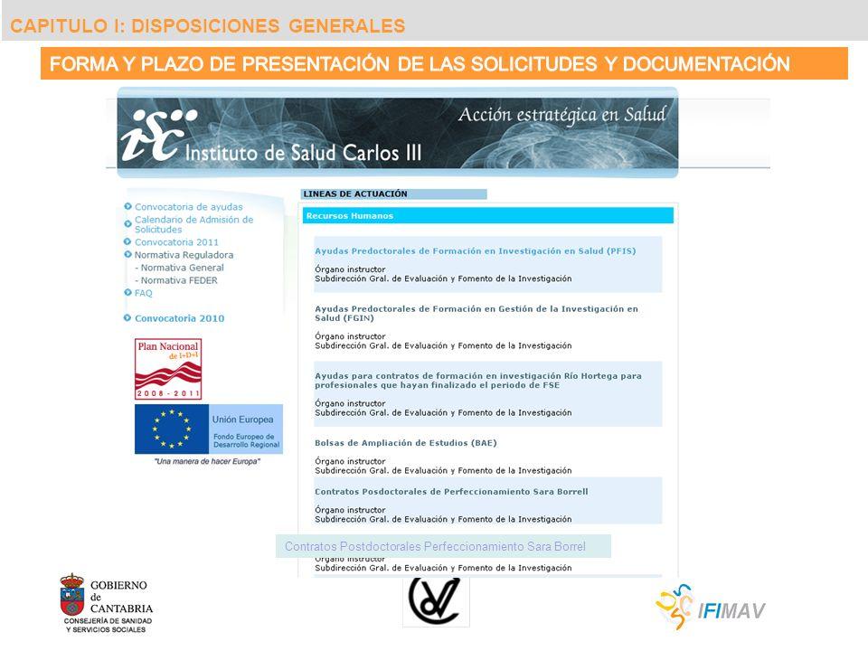 Contratos Postdoctorales Perfeccionamiento Sara Borrel CAPITULO I: DISPOSICIONES GENERALES