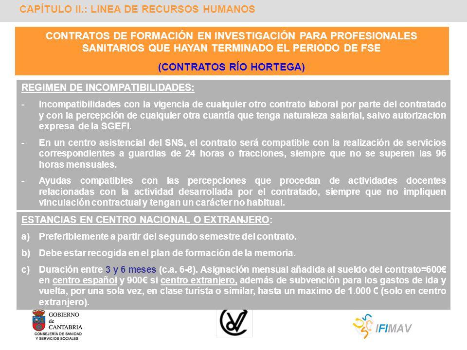 CAPÍTULO II.: LINEA DE RECURSOS HUMANOS CONTRATOS DE FORMACIÓN EN INVESTIGACIÓN PARA PROFESIONALES SANITARIOS QUE HAYAN TERMINADO EL PERIODO DE FSE (C