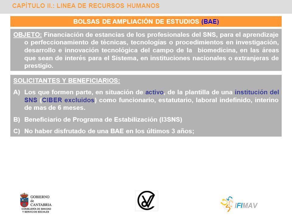 CAPÍTULO II.: LINEA DE RECURSOS HUMANOS BOLSAS DE AMPLIACIÓN DE ESTUDIOS (BAE) OBJETO: Financiación de estancias de los profesionales del SNS, para el