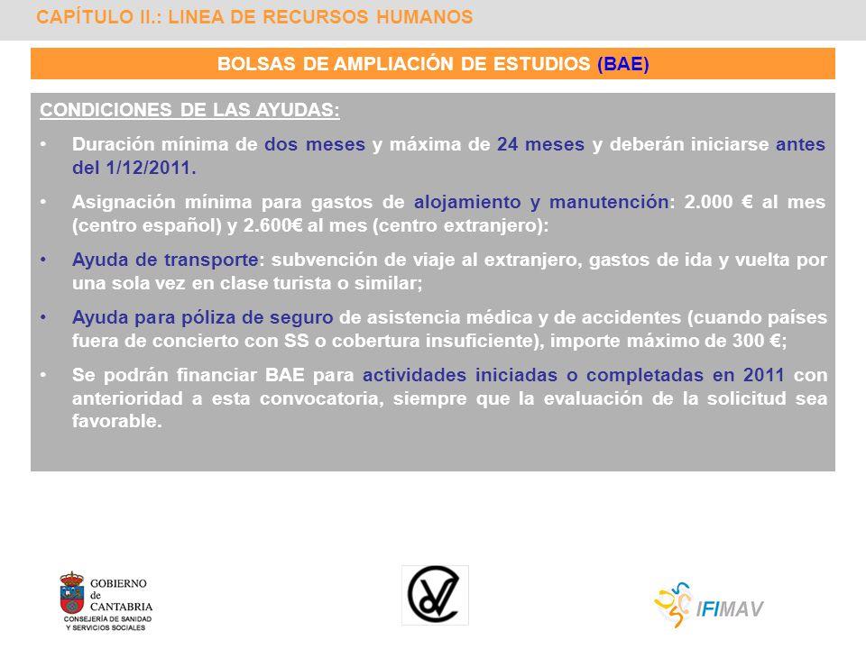 CAPÍTULO II.: LINEA DE RECURSOS HUMANOS BOLSAS DE AMPLIACIÓN DE ESTUDIOS (BAE) CONDICIONES DE LAS AYUDAS: Duración mínima de dos meses y máxima de 24