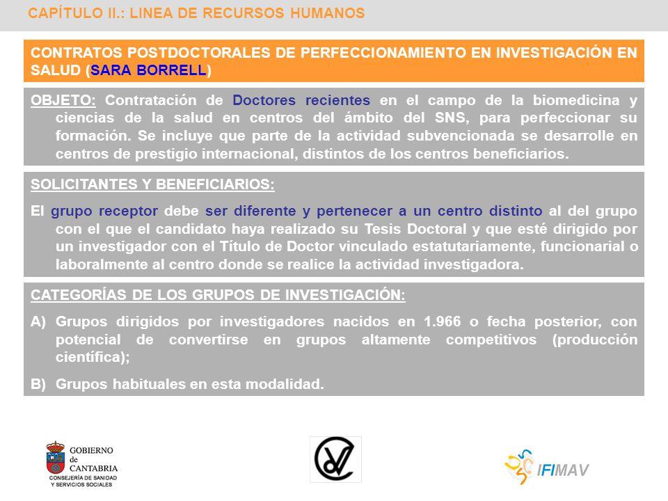 CAPÍTULO II.: LINEA DE RECURSOS HUMANOS CONTRATOS POSTDOCTORALES DE PERFECCIONAMIENTO EN INVESTIGACIÓN EN SALUD (SARA BORRELL) OBJETO: Contratación de