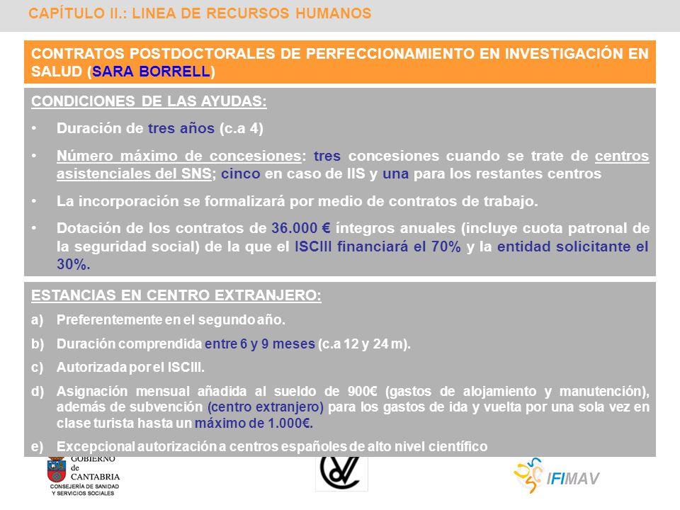 CAPÍTULO II.: LINEA DE RECURSOS HUMANOS CONTRATOS POSTDOCTORALES DE PERFECCIONAMIENTO EN INVESTIGACIÓN EN SALUD (SARA BORRELL) CONDICIONES DE LAS AYUD