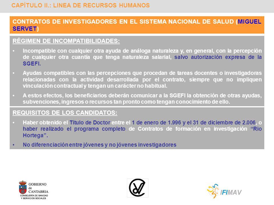 CAPÍTULO II.: LINEA DE RECURSOS HUMANOS CONTRATOS DE INVESTIGADORES EN EL SISTEMA NACIONAL DE SALUD (MIGUEL SERVET) RÉGIMEN DE INCOMPATIBILIDADES: Inc