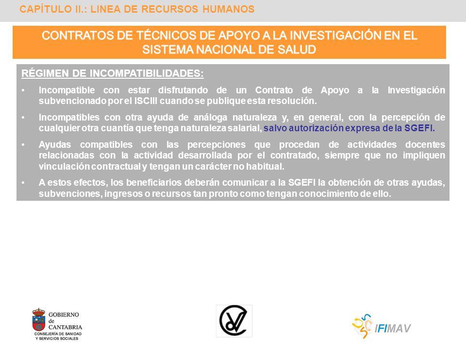 CAPÍTULO II.: LINEA DE RECURSOS HUMANOS RÉGIMEN DE INCOMPATIBILIDADES: Incompatible con estar disfrutando de un Contrato de Apoyo a la Investigación s
