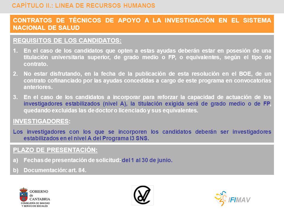 CAPÍTULO II.: LINEA DE RECURSOS HUMANOS REQUISITOS DE LOS CANDIDATOS: 1.En el caso de los candidatos que opten a estas ayudas deberán estar en posesió