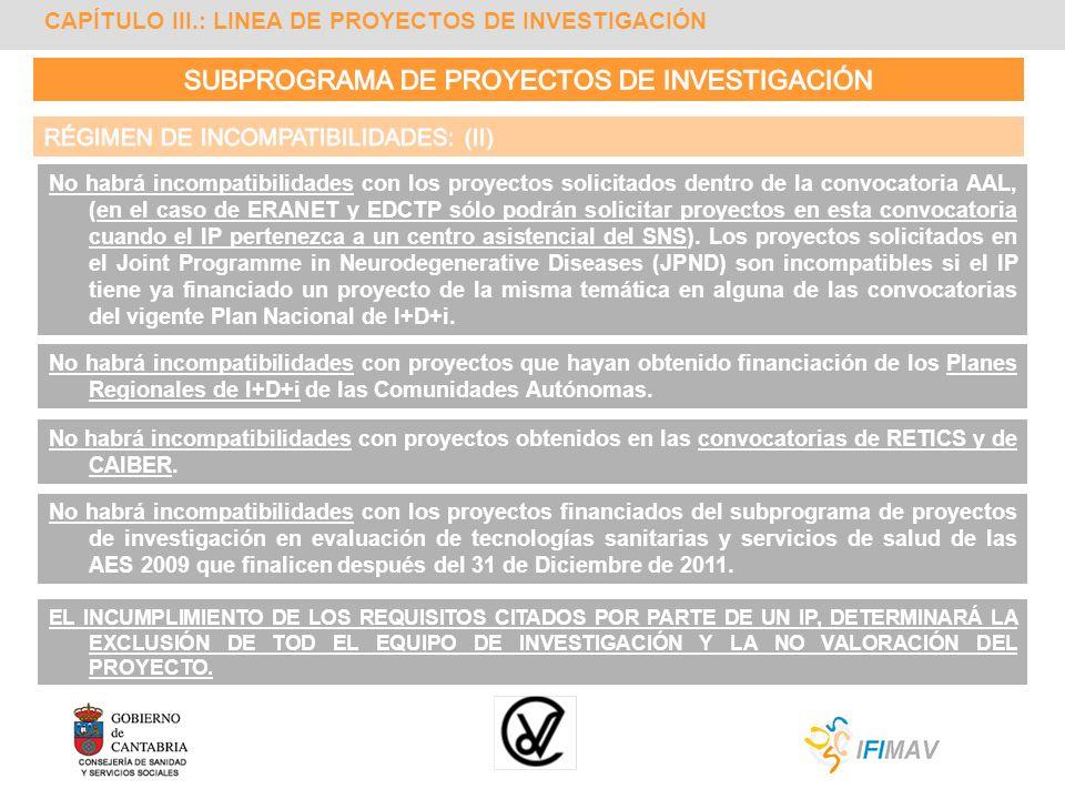 CAPÍTULO III.: LINEA DE PROYECTOS DE INVESTIGACIÓN No habrá incompatibilidades con los proyectos solicitados dentro de la convocatoria AAL, (en el cas