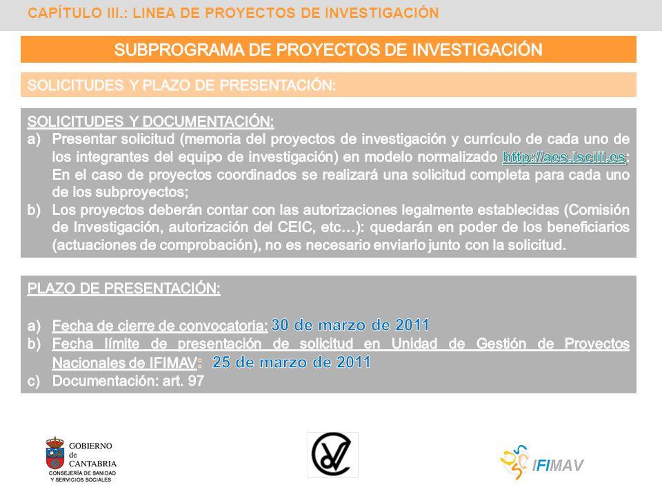 CAPÍTULO III.: LINEA DE PROYECTOS DE INVESTIGACIÓN