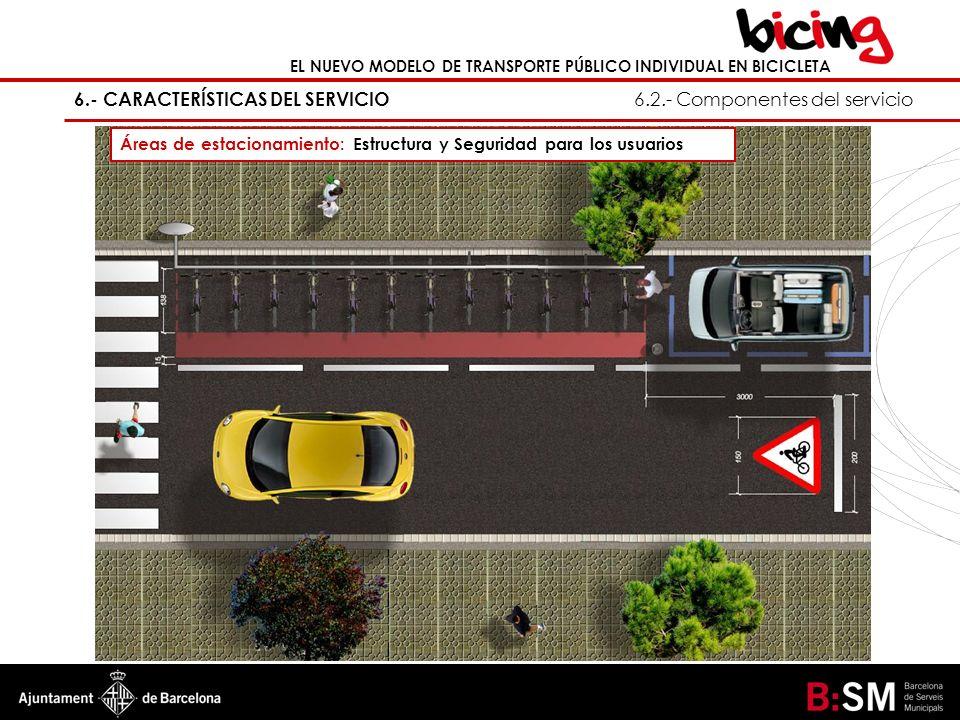 6.- CARACTERÍSTICAS DEL SERVICIO 6.2.- Componentes del servicio Áreas de estacionamiento: Estructura y Seguridad para los usuarios