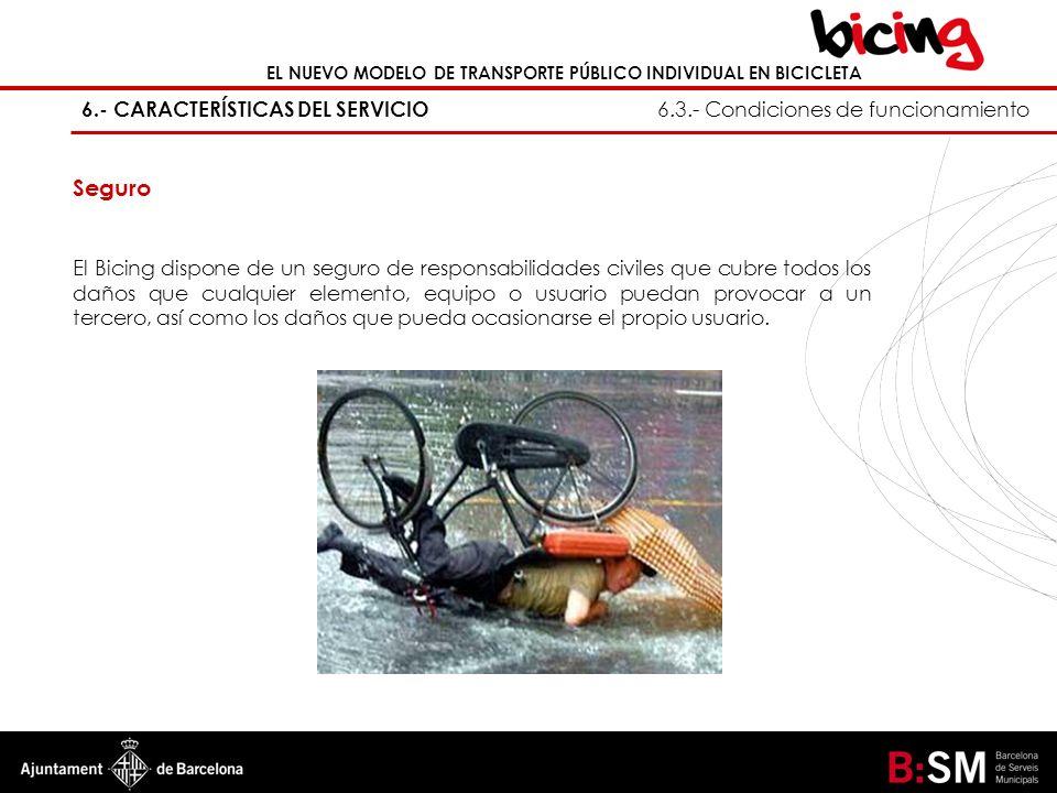 6.- CARACTERÍSTICAS DEL SERVICIO 6.3.- Condiciones de funcionamiento EL NUEVO MODELO DE TRANSPORTE PÚBLICO INDIVIDUAL EN BICICLETA Seguro El Bicing di