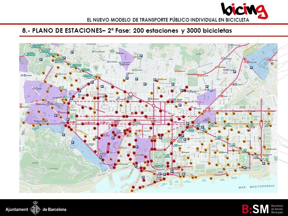 EL NUEVO MODELO DE TRANSPORTE PÚBLICO INDIVIDUAL EN BICICLETA 8.- PLANO DE ESTACIONES– 2ª Fase: 200 estaciones y 3000 bicicletas