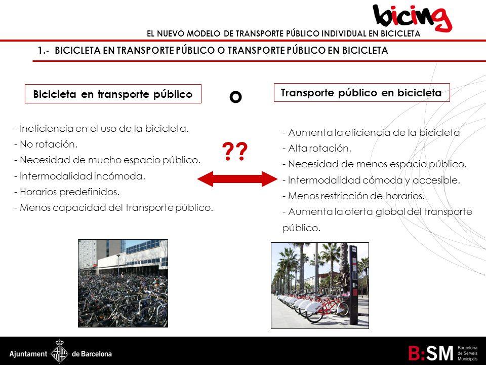 EL NUEVO MODELO DE TRANSPORTE PÚBLICO INDIVIDUAL EN BICICLETA 1.- BICICLETA EN TRANSPORTE PÚBLICO O TRANSPORTE PÚBLICO EN BICICLETA - Ineficiencia en