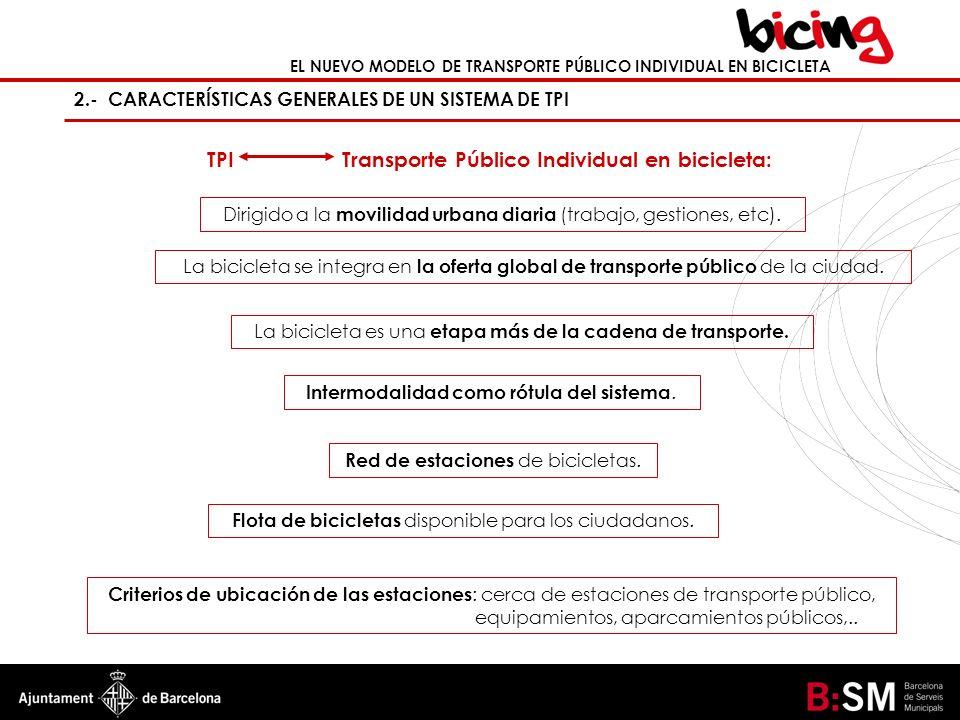 EL NUEVO MODELO DE TRANSPORTE PÚBLICO INDIVIDUAL EN BICICLETA 2.- CARACTERÍSTICAS GENERALES DE UN SISTEMA DE TPI TPI Transporte Público Individual en