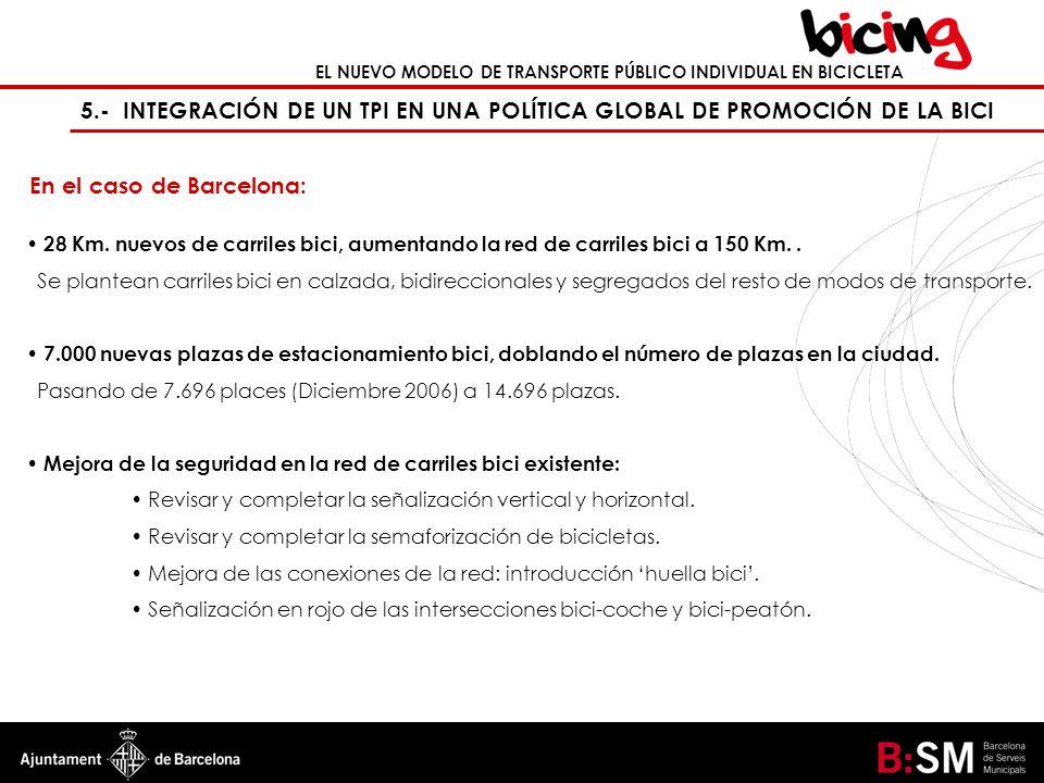 EL NUEVO MODELO DE TRANSPORTE PÚBLICO INDIVIDUAL EN BICICLETA 5.- INTEGRACIÓN DE UN TPI EN UNA POLÍTICA GLOBAL DE PROMOCIÓN DE LA BICI En el caso de B