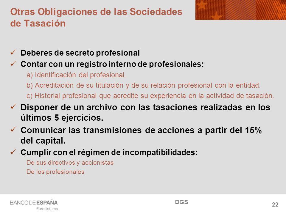 NOMBRE DEL DEPARTAMENTO Otras Obligaciones de las Sociedades de Tasación Deberes de secreto profesional Contar con un registro interno de profesionales: a) Identificación del profesional.