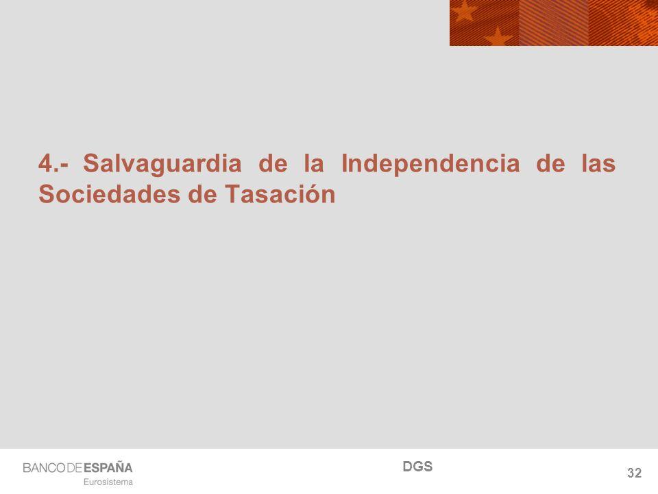 NOMBRE DEL DEPARTAMENTO 4.- Salvaguardia de la Independencia de las Sociedades de Tasación 32 DGS