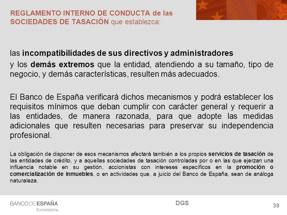 NOMBRE DEL DEPARTAMENTO REGLAMENTO INTERNO DE CONDUCTA de las SOCIEDADES DE TASACIÓN que establezca: las incompatibilidades de sus directivos y admini
