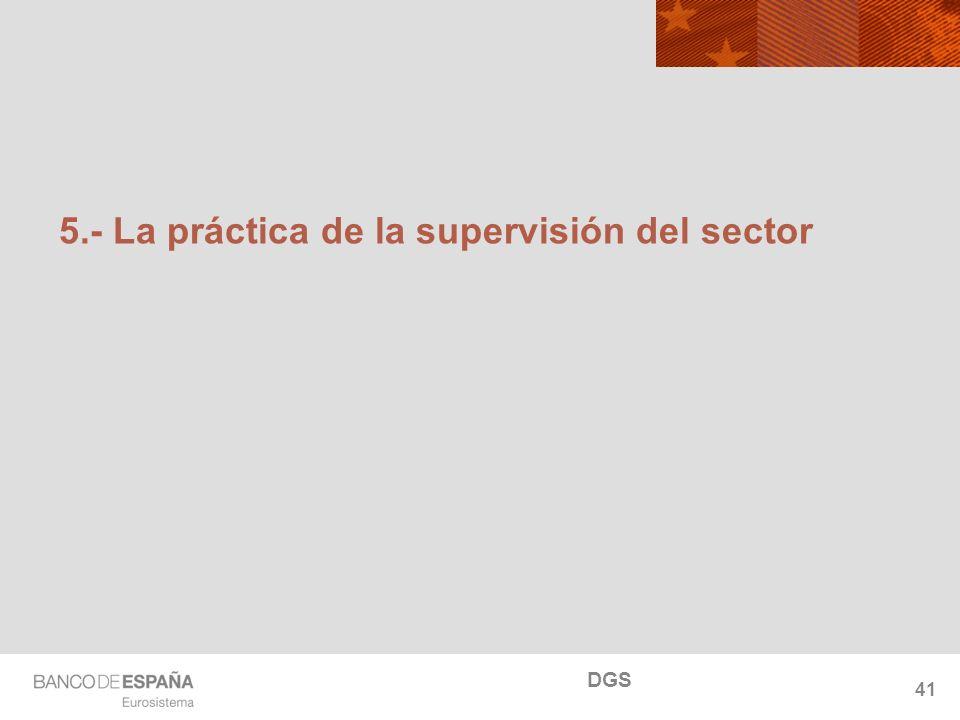 NOMBRE DEL DEPARTAMENTO 5.- La práctica de la supervisión del sector 41 DGS