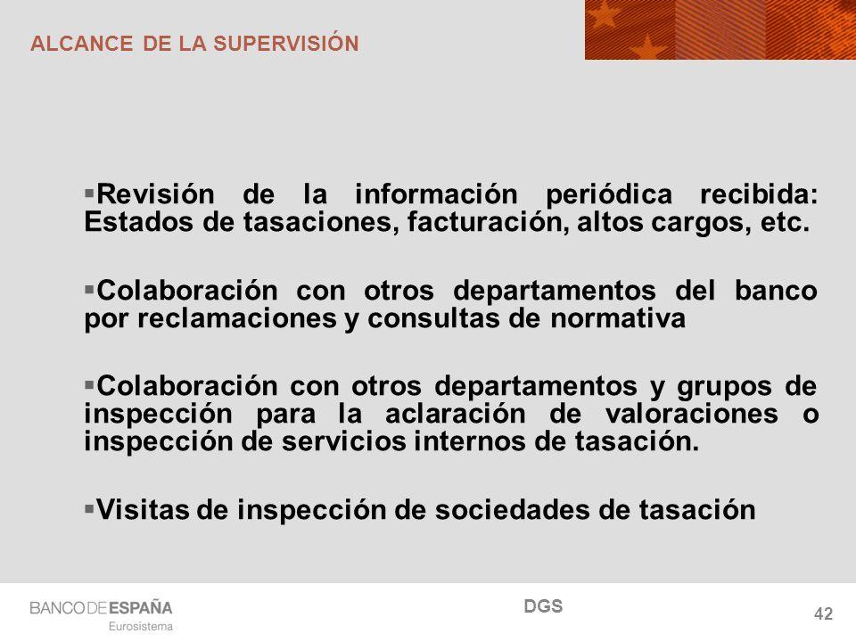 NOMBRE DEL DEPARTAMENTO 42 ALCANCE DE LA SUPERVISIÓN Revisión de la información periódica recibida: Estados de tasaciones, facturación, altos cargos,