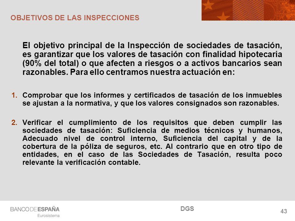 NOMBRE DEL DEPARTAMENTO OBJETIVOS DE LAS INSPECCIONES El objetivo principal de la Inspección de sociedades de tasación, es garantizar que los valores