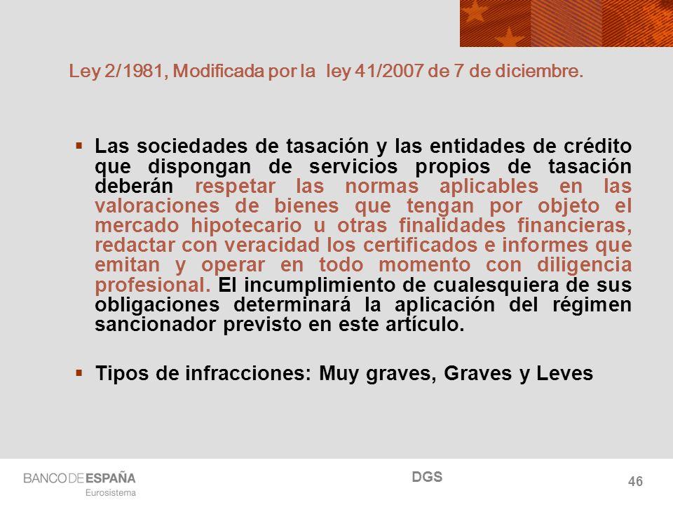 NOMBRE DEL DEPARTAMENTO Ley 2/1981, Modificada por la ley 41/2007 de 7 de diciembre. Las sociedades de tasación y las entidades de crédito que dispong