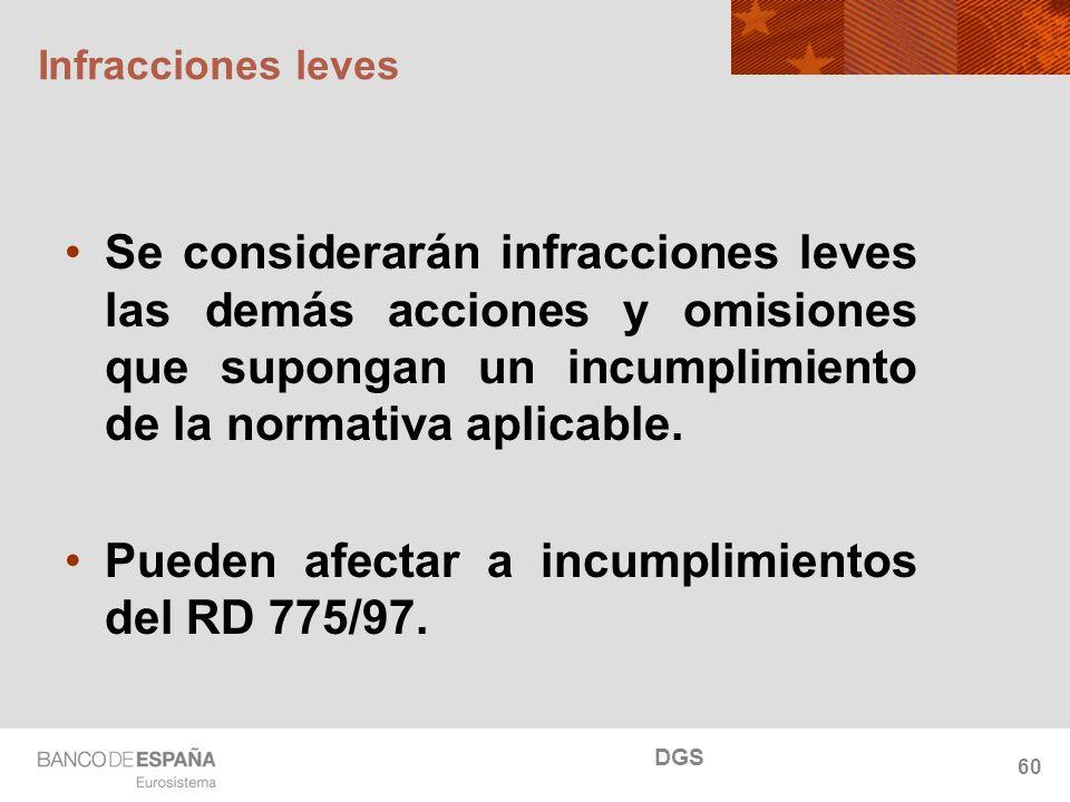NOMBRE DEL DEPARTAMENTO Infracciones leves Se considerarán infracciones leves las demás acciones y omisiones que supongan un incumplimiento de la norm
