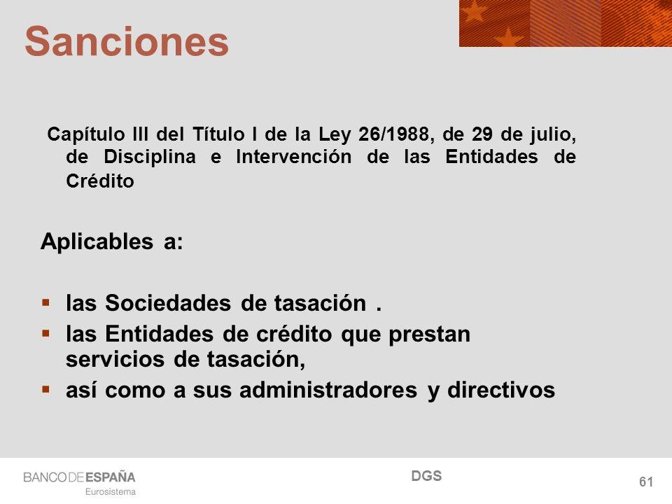 NOMBRE DEL DEPARTAMENTO Sanciones Capítulo III del Título I de la Ley 26/1988, de 29 de julio, de Disciplina e Intervención de las Entidades de Crédito Aplicables a: las Sociedades de tasación.