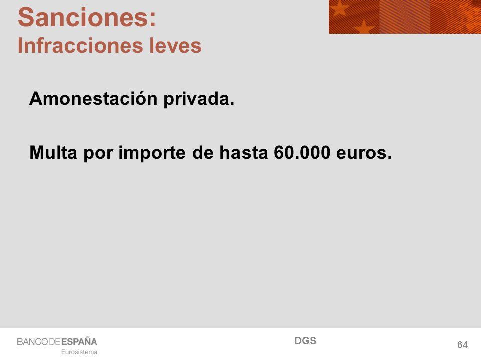 NOMBRE DEL DEPARTAMENTO Sanciones: Infracciones leves Amonestación privada. Multa por importe de hasta 60.000 euros. DGS 64