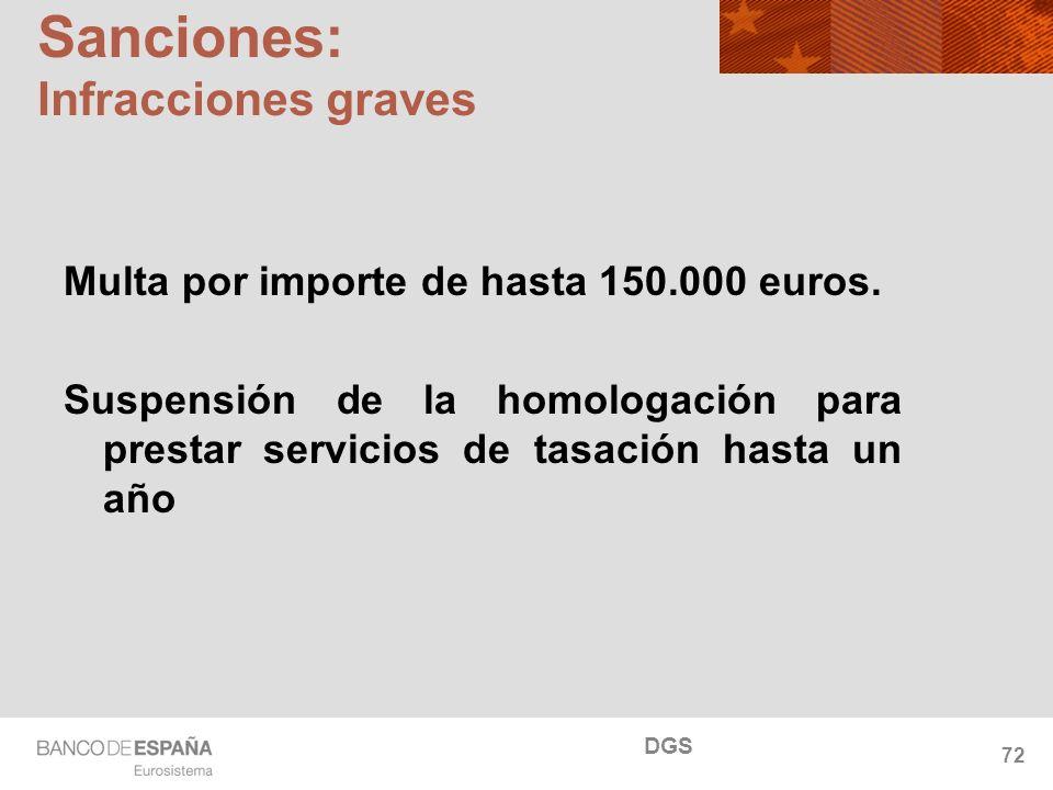 NOMBRE DEL DEPARTAMENTO Sanciones: Infracciones graves Multa por importe de hasta 150.000 euros. Suspensión de la homologación para prestar servicios