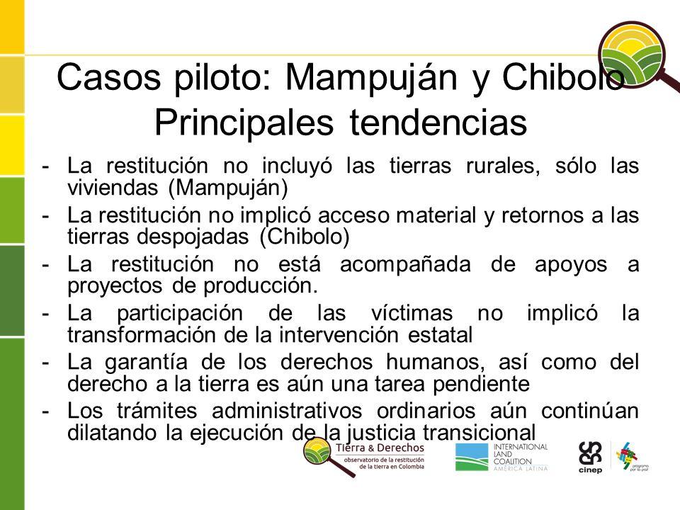 Casos piloto: Mampuján y Chibolo Principales tendencias -La restitución no incluyó las tierras rurales, sólo las viviendas (Mampuján) -La restitución no implicó acceso material y retornos a las tierras despojadas (Chibolo) -La restitución no está acompañada de apoyos a proyectos de producción.
