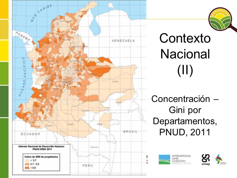 Contexto Nacional (II) Concentración – Gini por Departamentos, PNUD, 2011