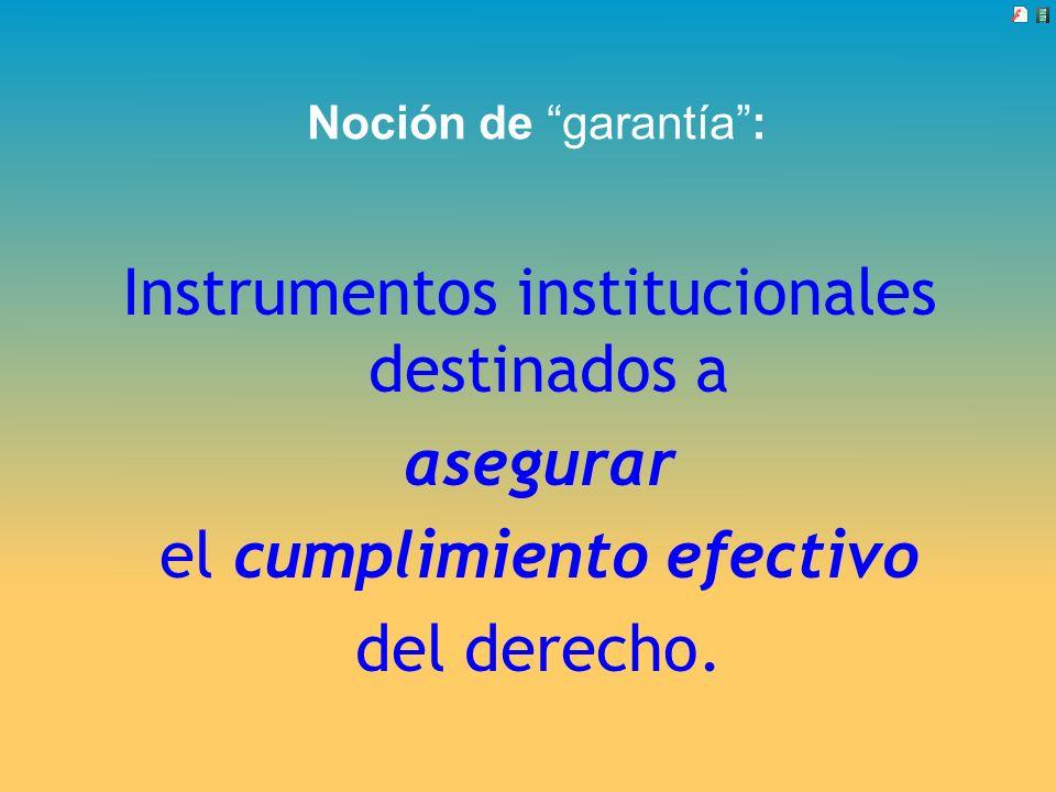 Noción de garantía: Instrumentos institucionales destinados a asegurar el cumplimiento efectivo del derecho.