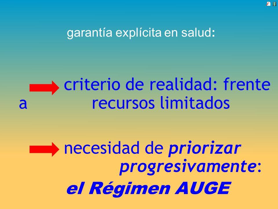 garantía explícita en salud: criterio de realidad: frente a recursos limitados necesidad de priorizar progresivamente: el Régimen AUGE