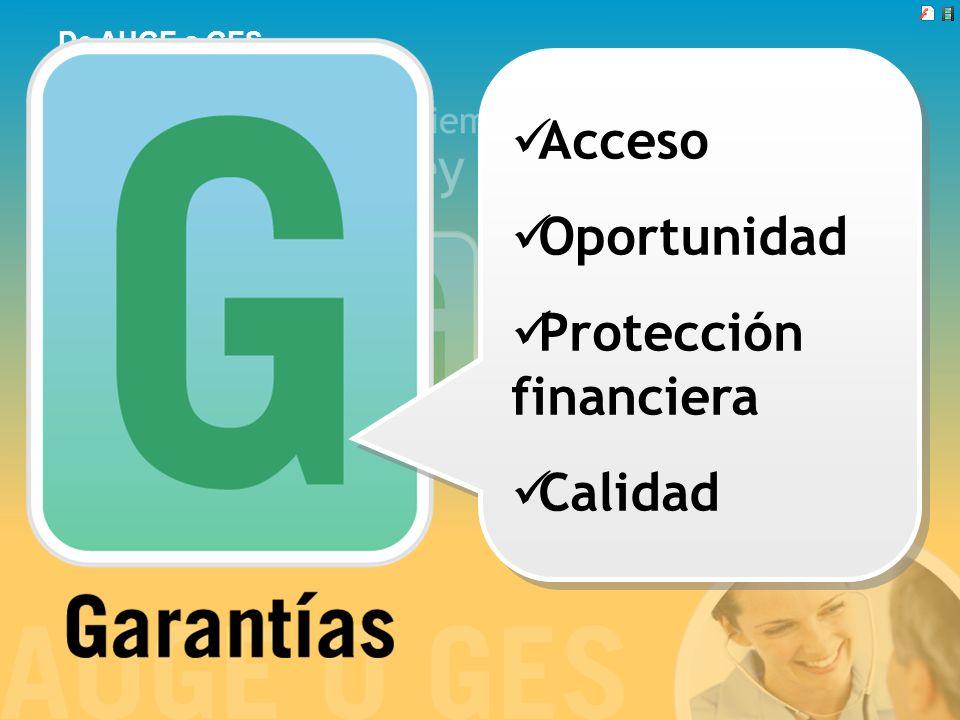 Acceso Oportunidad Protección financiera Calidad Acceso Oportunidad Protección financiera Calidad