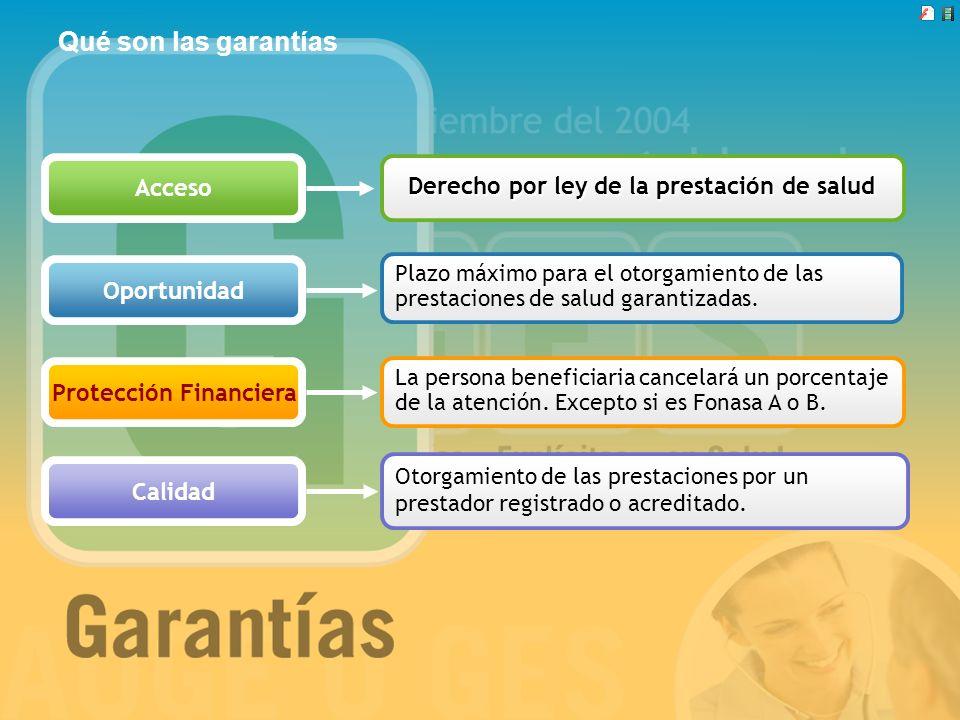 Qué son las garantías Acceso Oportunidad Protección Financiera Calidad Plazo máximo para el otorgamiento de las prestaciones de salud garantizadas. La