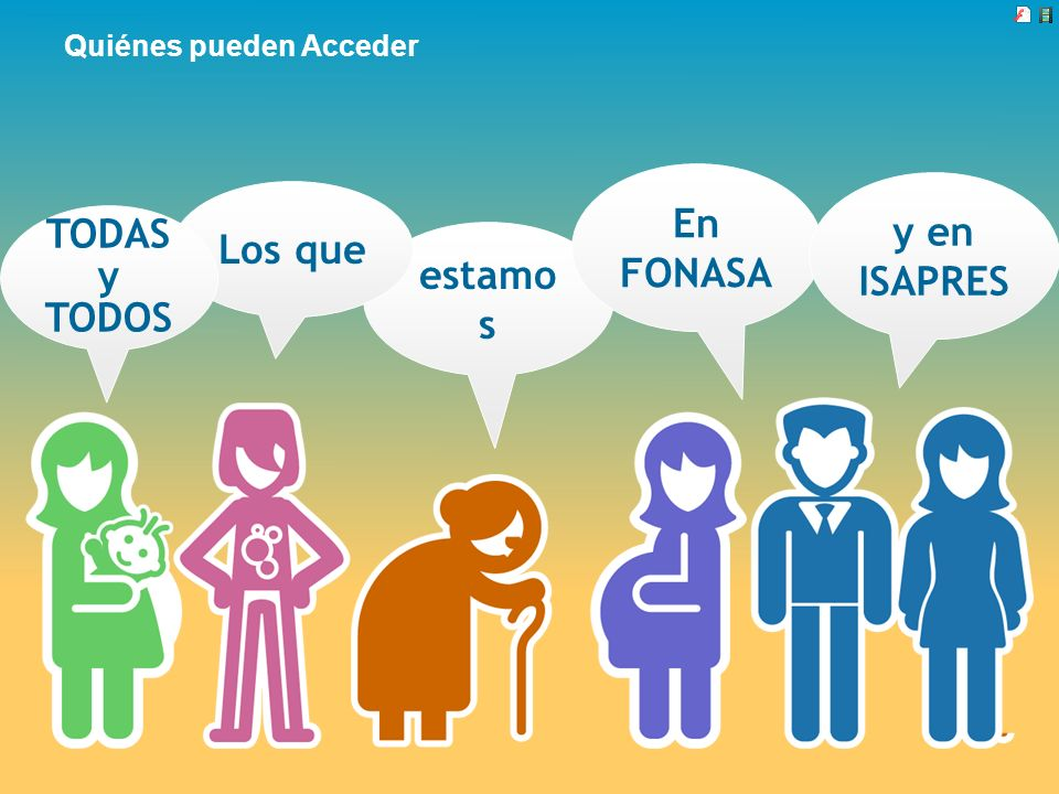 estamo s Quiénes pueden Acceder Los que En FONASA y en ISAPRES TODAS y TODOS