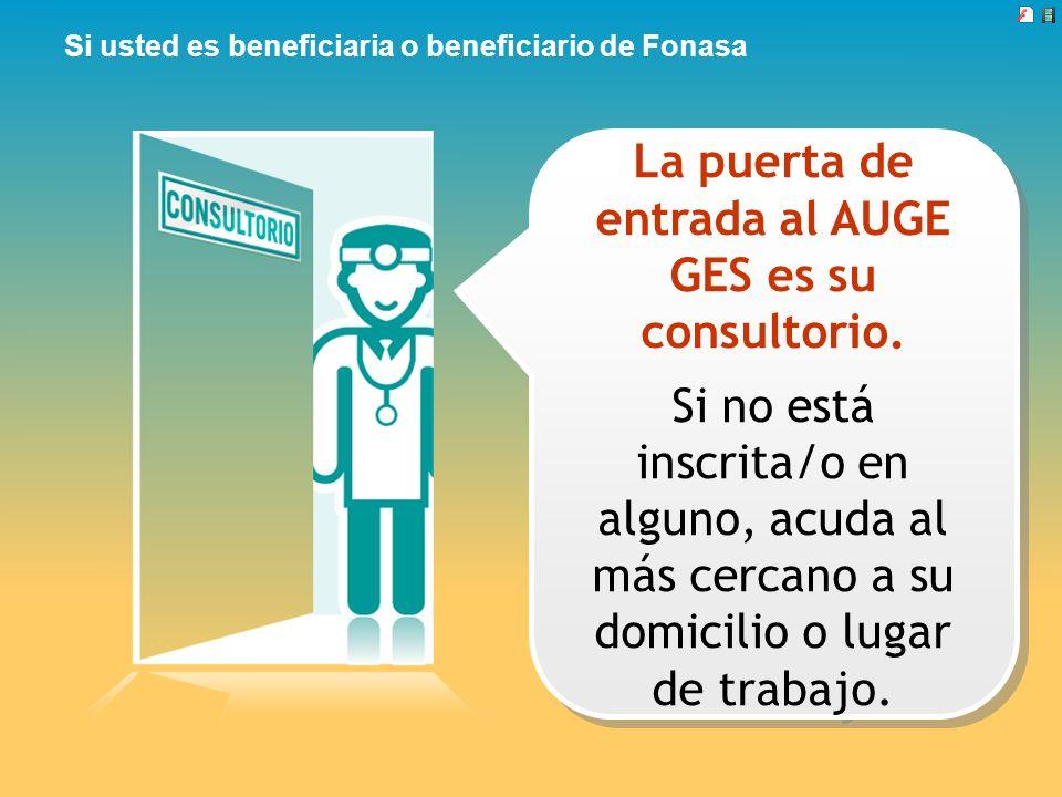 Si usted es beneficiaria o beneficiario de Fonasa La puerta de entrada al AUGE GES es su consultorio. Si no está inscrita/o en alguno, acuda al más ce