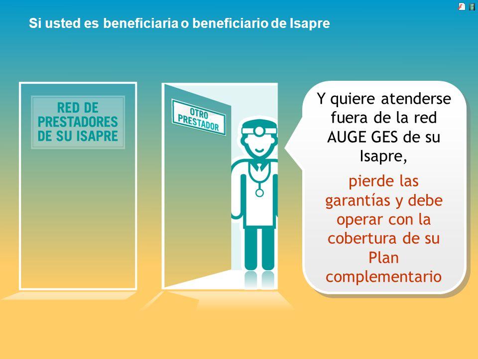 Si usted es beneficiaria o beneficiario de Isapre Y quiere atenderse fuera de la red AUGE GES de su Isapre, pierde las garantías y debe operar con la