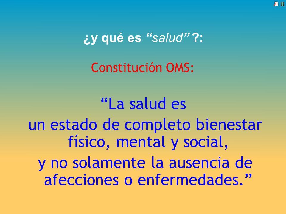 ¿y qué es salud ?: Constitución OMS: La salud es un estado de completo bienestar físico, mental y social, y no solamente la ausencia de afecciones o e