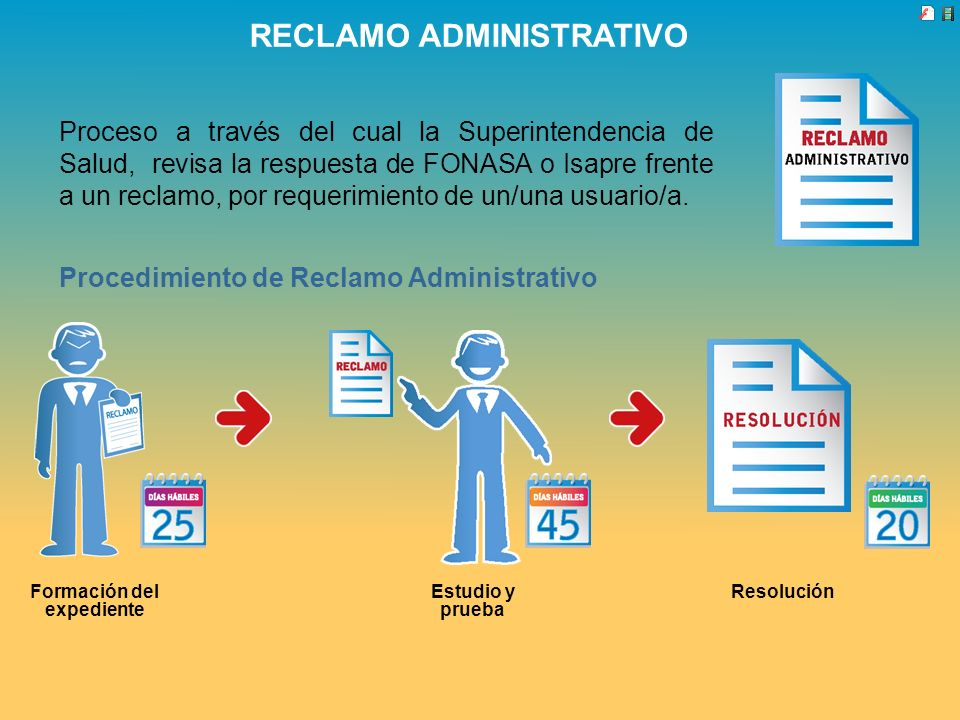 RECLAMO ADMINISTRATIVO Proceso a través del cual la Superintendencia de Salud, revisa la respuesta de FONASA o Isapre frente a un reclamo, por requeri
