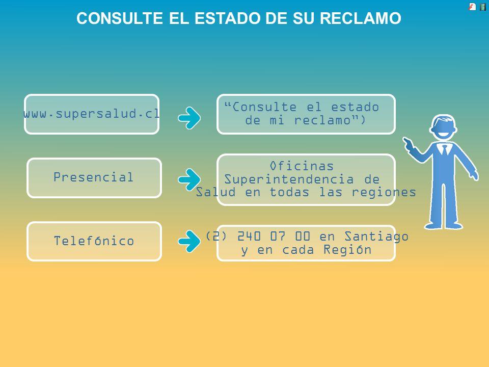 CONSULTE EL ESTADO DE SU RECLAMO www.supersalud.cl Consulte el estado de mi reclamo) Presencial Telefónico Oficinas Superintendencia de Salud en todas