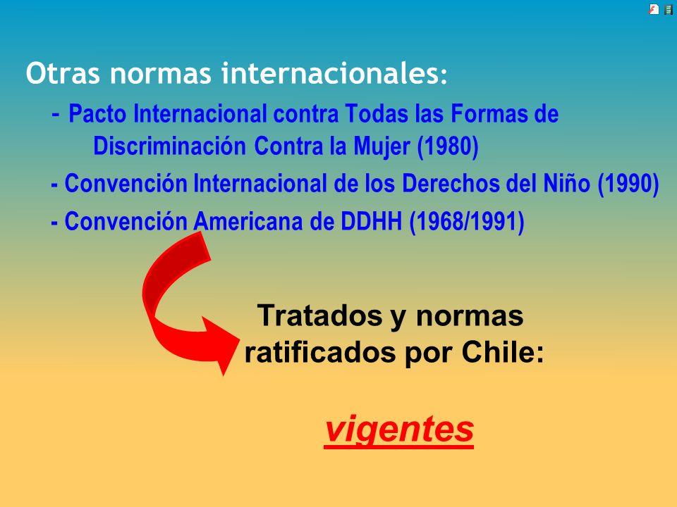 Otras normas internacionales : - Pacto Internacional contra Todas las Formas de Discriminación Contra la Mujer (1980) - Convención Internacional de lo