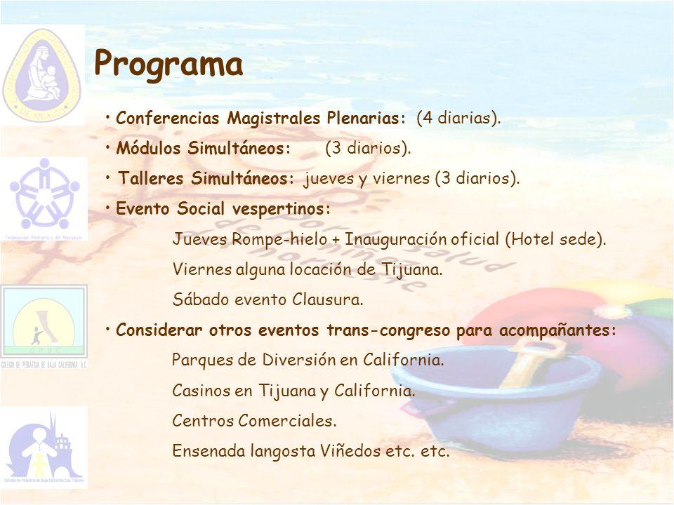 Programa Conferencias Magistrales Plenarias: (4 diarias). Módulos Simultáneos: (3 diarios). Talleres Simultáneos: jueves y viernes (3 diarios). Evento